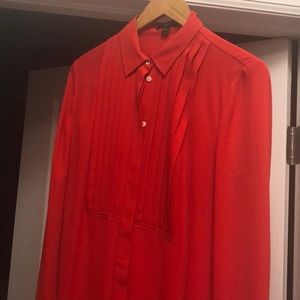 J Crew Red Pleated Blouse